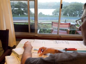 Doug collates the book @ Wooli Research & Study Centre