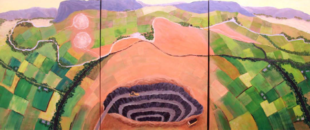 Sylvia Secomb (Mann) Synergism – Towards Regeneration I 2010 Acrylic and medium on canvas 91 x 213 cm Courtesy of the artist